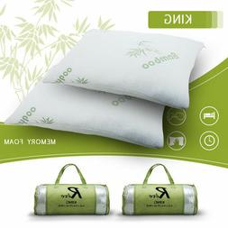 Bamboo Pillow & Removable Case Egyptian King Queen Washable