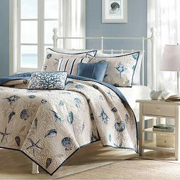 Madison Park Bayside Full/Queen Size Quilt Bedding Set - Blu