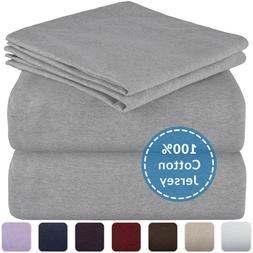Mellanni Jersey Cotton Sheets w/ Deep Pockets, T-Shirt Knit