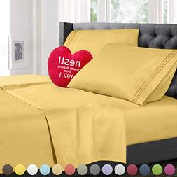 Queen Size Bed Sheets Set Yellow, Highest Quality Bedding Sh