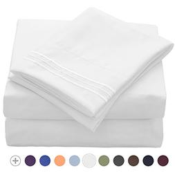 VEEYOO Bed Sheet Sets White - Extra Soft 1800 Thread Count M