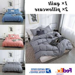 Bedding 3 Pieces Bed Sheet Set Solid Color Comforter Set Que