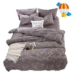 BuLuTu Bedding Constellation Print Queen Bedding Sets Cotton