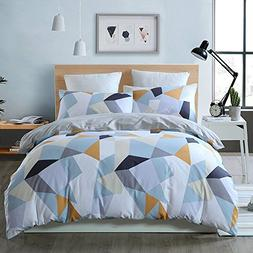BuLuTu Bedding Geometric Kids Duvet Cover Sets Queen White F