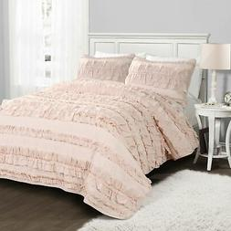 Lush Decor Belle 2 Piece Ruffled Quilt Bedding Set Twin Pink