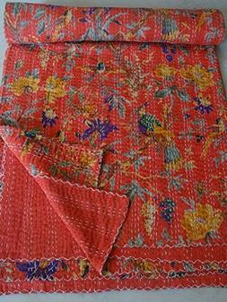 Tribal Asian Textiles Bird Print Queen Size Kantha Quilt Kan