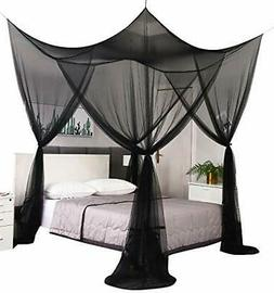 Black Elegant Mosquito Net Canopy Bed Curtain Bed Drapes for