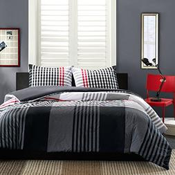 INK+IVY Blake 3-Piece Mini Duvet Set, Full/Queen, Black
