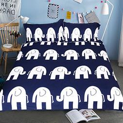 Sleepwish Blue Elephant Bedding 3 PCS Navy Blue and White Ba