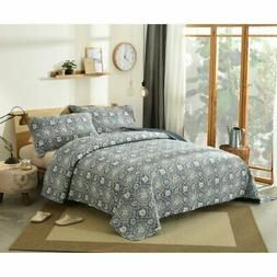 Blue Lapis Quilted Bedspread Set by DaDa Bedding Collection