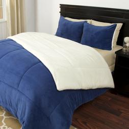 Lavish Home 3 Piece Blue Full/Queen Sherpa Puffy Comforter S