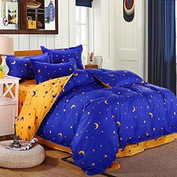 KingKara Blue/Yellowish Brown Duvet Cover Set Full/Queen Cot