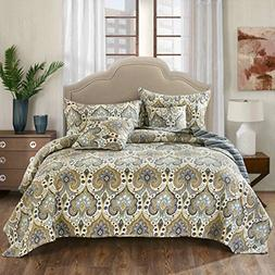 Tache Home Fashion Bohemian Spades Quilted Coverlet Bedsprea