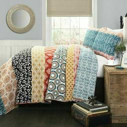 Lush Decor Bohemian Striped Quilt Reversible 3 Piece Colorfu