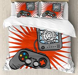 Boy's Room Duvet Cover Set Queen Size by Lunarable, Video Ga