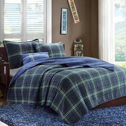 D&H 4 Piece Boys Navy Blue Green Madras Glen Plaid Theme Cov