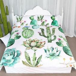Bright Cactus Pattern Bedding Set Green plants cactus Print