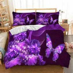 Butterfly Purple Duvet Cover Set Twin/Queen/King Size Beddin