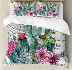 Cactus Decor Duvet Cover Set Queen Size by Ambesonne, Spring