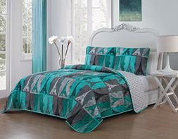 Avondale Manor Cannes 3 Piece Quilt Set, Queen, Teal