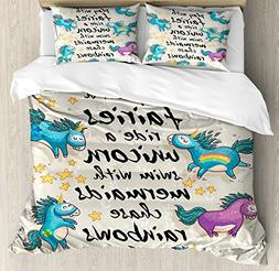 Ambesonne Cartoon Duvet Cover Set Queen Size, Mythical Unico