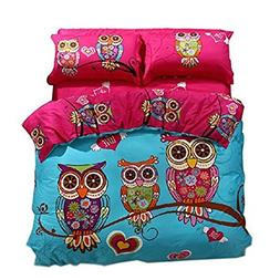 Svetanya Cartoon Style Owls Printed 5Pcs Duvet Cover Set 400