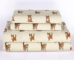 Cat Kitten Queen Size 4 Piece Sheet Set Microfiber Bedding,
