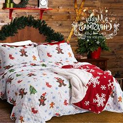 Bedsure Christmas Bedding Quilts Set Decoration Printed Beds