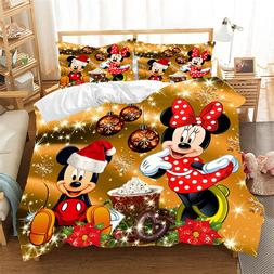 Christmas Mickey Minnie <font><b>Bedding</b></font> Set Duve