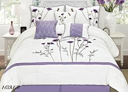 Fancy Collection 7-pc Embroidery Bedding Off White Purple La
