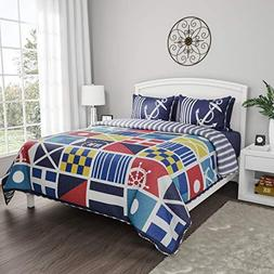 Lavish Home Collection Quilt Bedspread Exclusive Mariner Des
