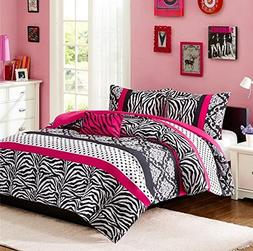 Comforter Bed Set Teen Kids Girls Pink Black White Animal Pr