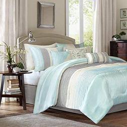 Madison Park Amherst 7 Piece Comforter Set, Aqua, Queen