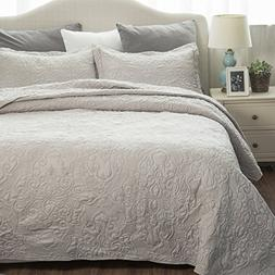 Comfy Bedding Set Quilt Embroidered Full/Queen Quilt Set 90""