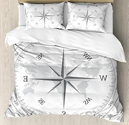 Ambesonne Compass Duvet Cover Set Queen Size, Compass Illust