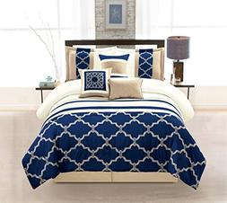 WPM 7 Pieces Complete Bedding Ensemble Navy Blue Taupe Ivory