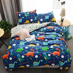 HIGHBUY 100% Cotton Dinosaur Print Kids Duvet Cover Set Full