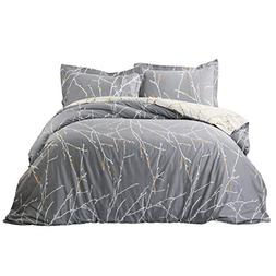 Bedsure 100% Cotton Duvet Cover Set Full Queen Size Grey/Ivo