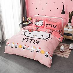 CASA 100% Cotton Kids Bedding Set Girls Hello Kitty Duvet co