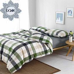 MKXI Cotton Queen Size Bed Duvet Cover Geometric Pattern Gre