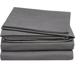 Cotton Sateen Queen Bed-Sheet-Set Grey - 4 Piece Bedding Set