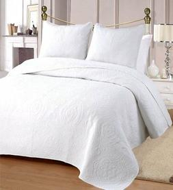 Cozy Line Home Fashions 100% COTTON Solid White Medallion Be