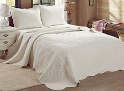 Cozy Line Home Fashions Victorian Medallion Solid Ivory Mate