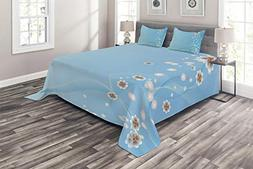 Ambesonne Nature Coverlet Set Queen Size, Floral Flowers Lea