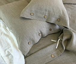 Dark Linen Duvet Cover with Wood Button Closure, Natural Lin