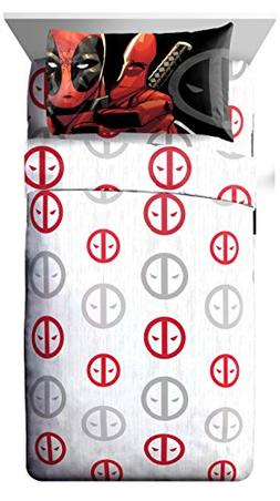 Marvel Deadpool Invasion 4 Piece Queen Sheet Set White/Red/G
