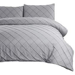 Bedsure Diamond Pattern Duvet Cover Set Full/Queen Size Grey