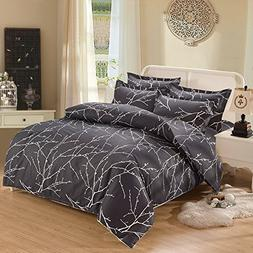 Branches Duvet Cover Set, Dark Gray Grey Charcoal with Tree