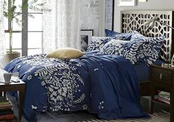 Wake In Cloud - Navy Blue Duvet Cover Set, Gray Grey Floral