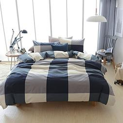 Adyonline 3 Pcs Duvet Cover Queen Size for Wisdom Boys Navy&